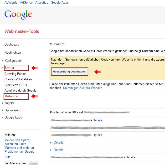 Erneute Überprüfung Ihrer Website anfordern