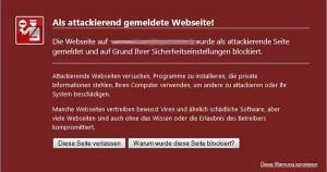 Als attackierend gemeldete Webseite