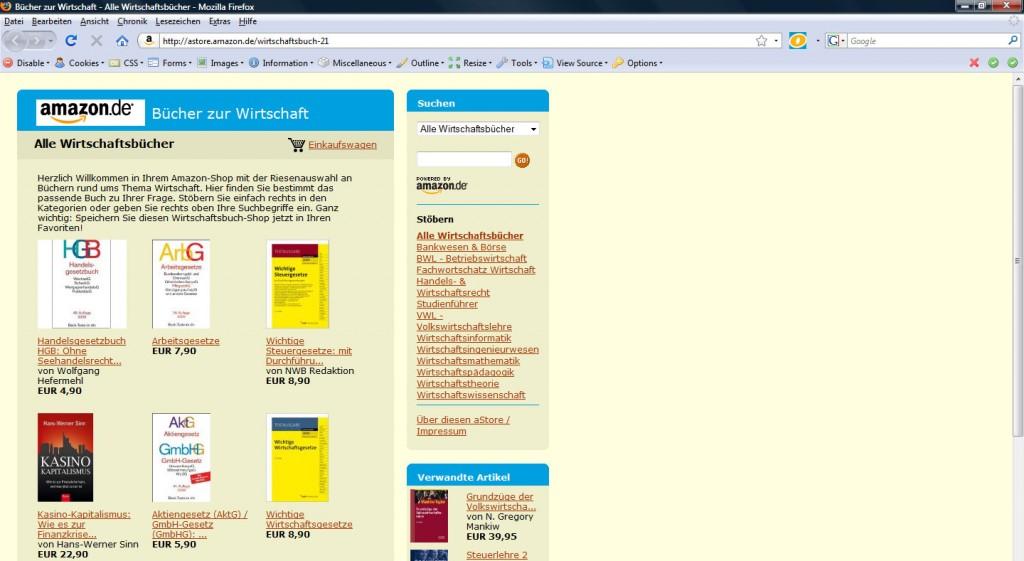 """Amazon aStore """"Wirtschaftsbuch"""""""