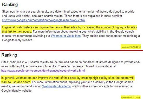 Backlinks in Googles Richtlinien für  Webmaster