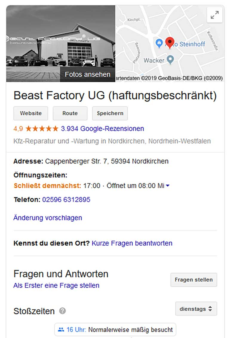 Beast Factory. Google myBusiness Screenshot
