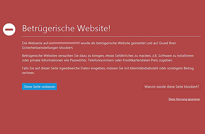 Betrügerische Website. Firefox Meldung