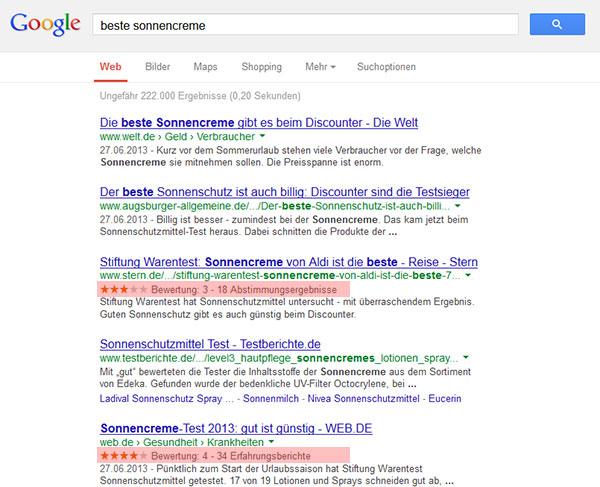 Bewertungenssternchen in Googles SERPs