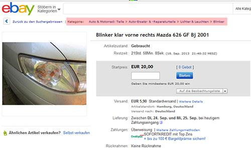 Breadcrumbs Brotkrümelnavigation auf eBay