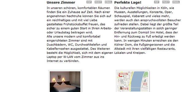 Domizil Inn Köln. Content
