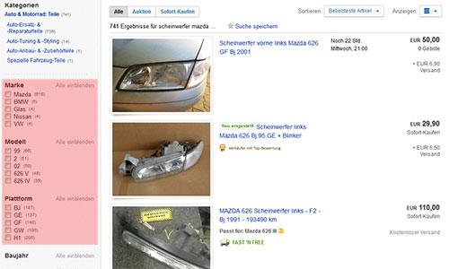 Facettierte Navigation auf eBay