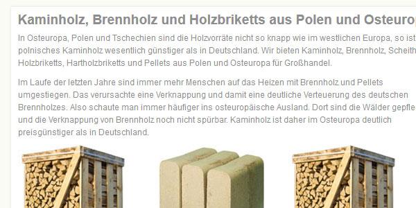 Kaminholz Polen. Produkte