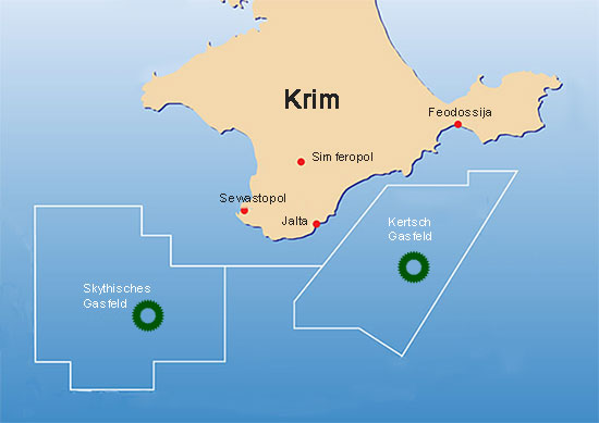 Krim. Gasfelder im Schwarzen Meer
