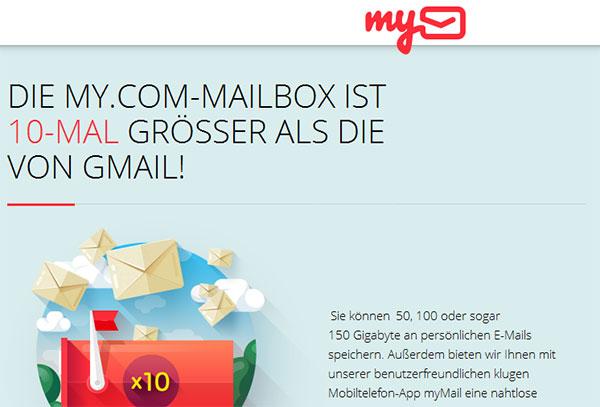 My.com mit viel Speicherplatz
