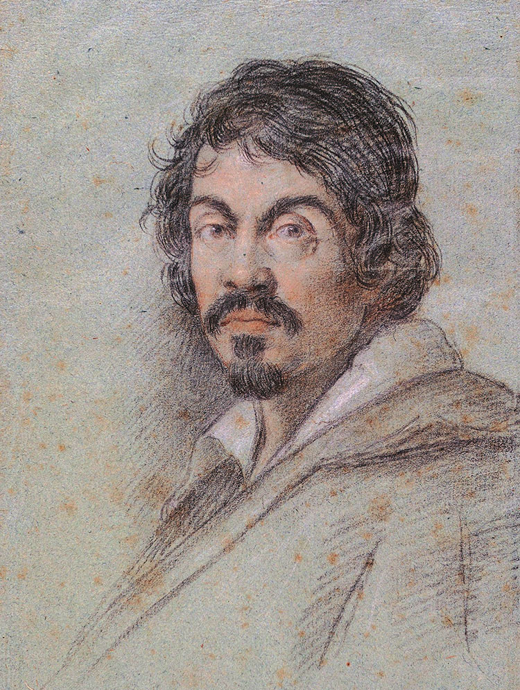 Michelangelo Merisi da Caravaggio. Porträt von Ottavio Leoni, um 1614