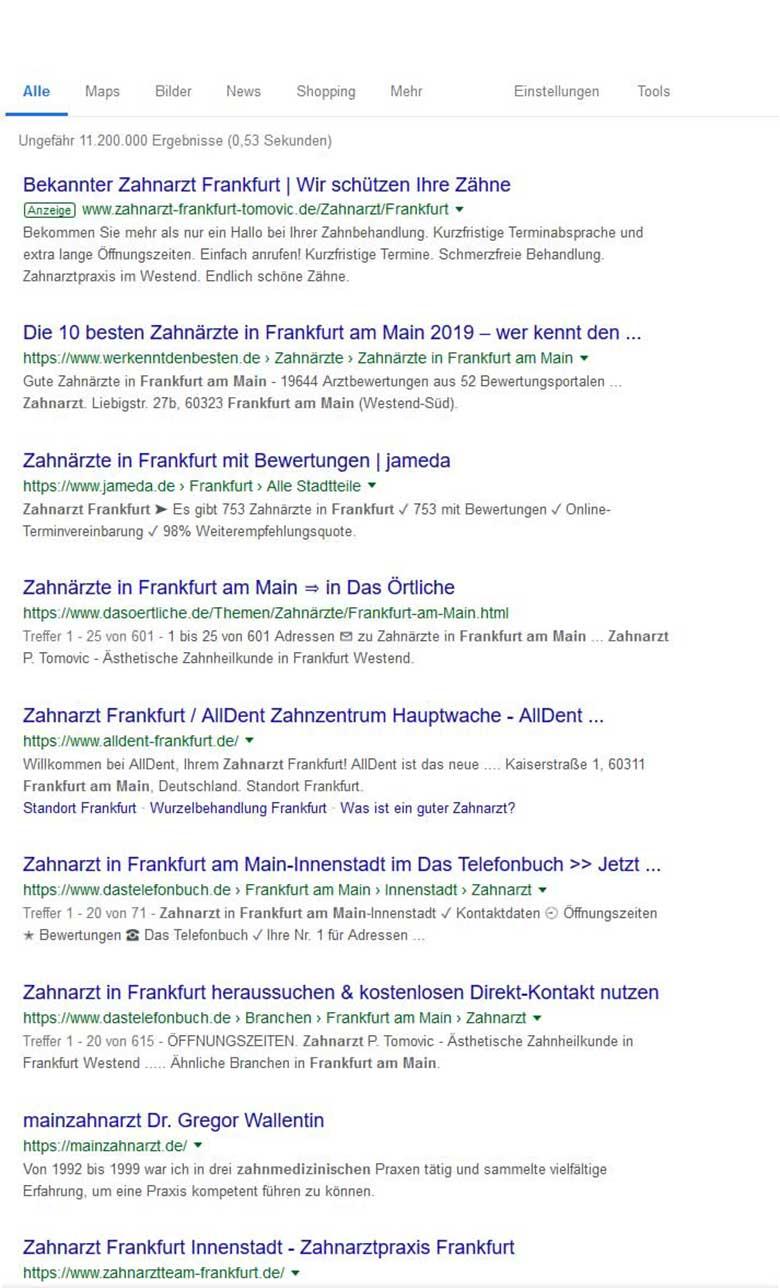 Screenshot 2019-03-14 Zahnarzt Frankfurt am Main. Google-Suche