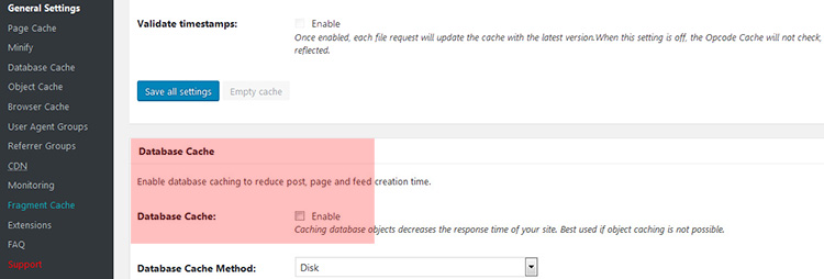 W3 Total Cache Database Cache deaktivieren