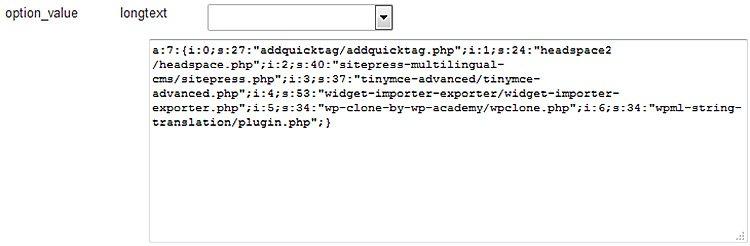 Aktivierte Plugins in der WordPress-Datenbank