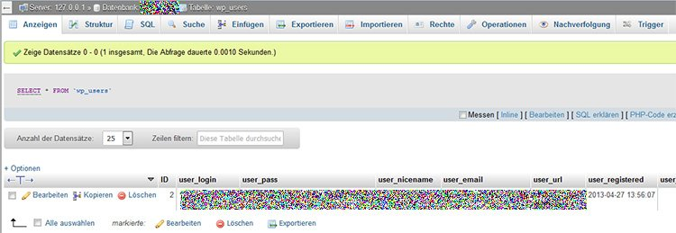 WordPress Tabelle wp_users