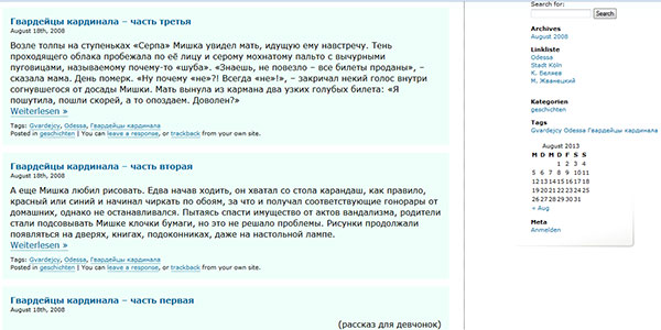 Wordpress Blog. Content
