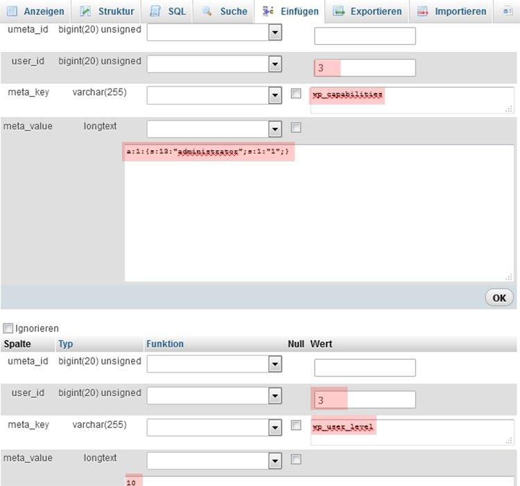 WP User in der Datenbank erstellen Schritt 4