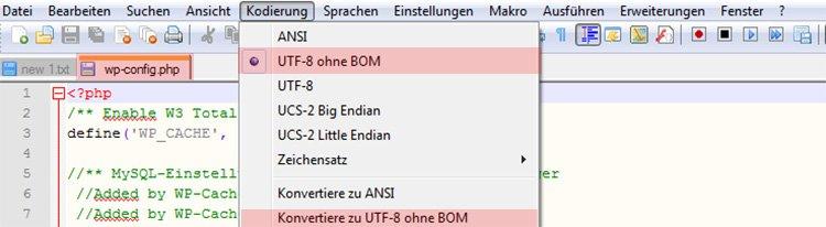 Zu UTF8 ohne BOM konvertieren
